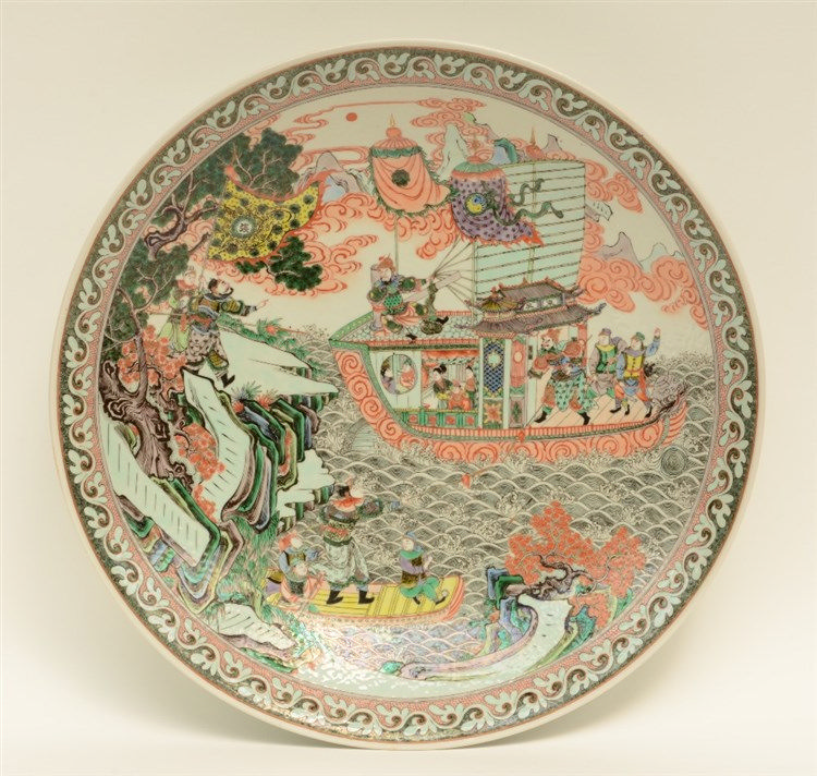 A fine Chinese plate, polychrome decorated with a warrior scene, marked, H