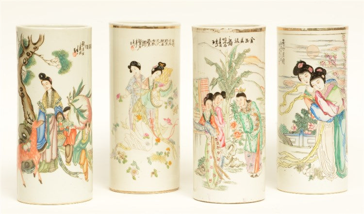 Four Chinese cylinder shaped vases, polychrome decorated with figures, mark