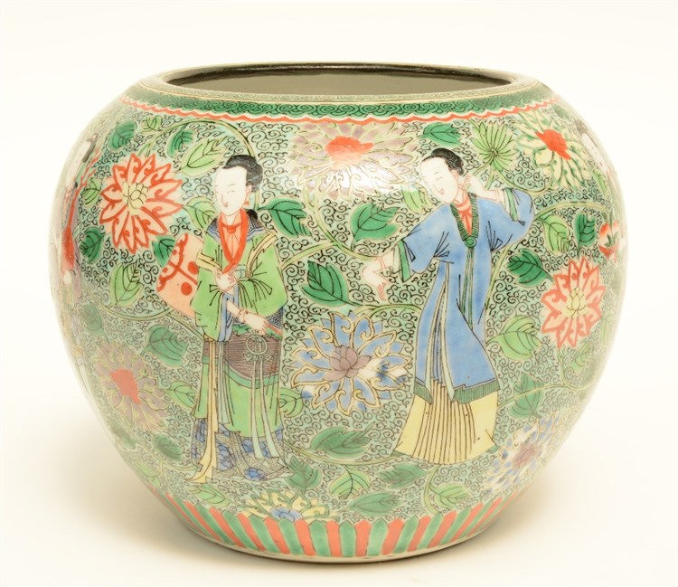 A Chinese famille verte bowl, decorated with figures and floral motifs, 19t