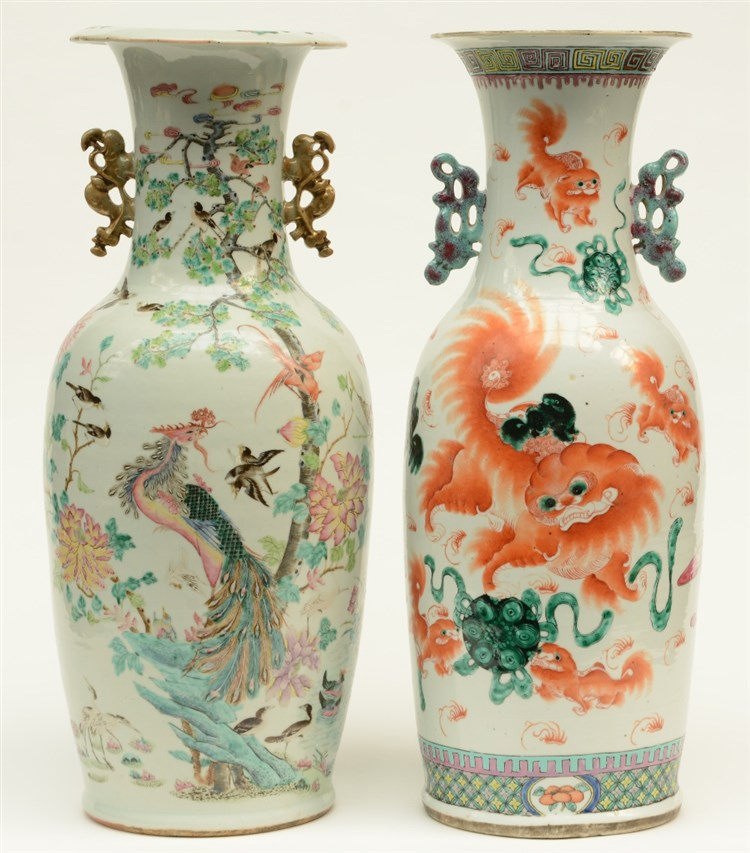 Two Chinese polychrome vases, decorated on both sides, 19thC, H 61 - 61,5 c