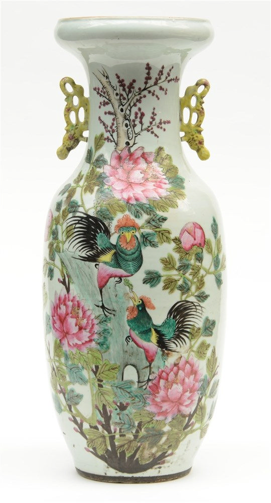 A Chinese famille rose vase, decorated with cockerels on a rock and flower