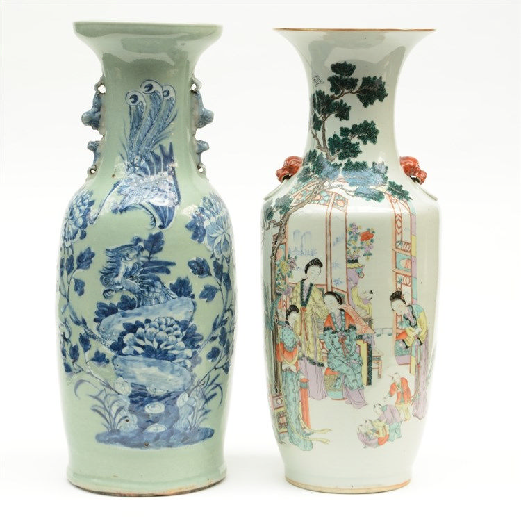 A Chinese polychrome vase, decorated with court ladies and children; added