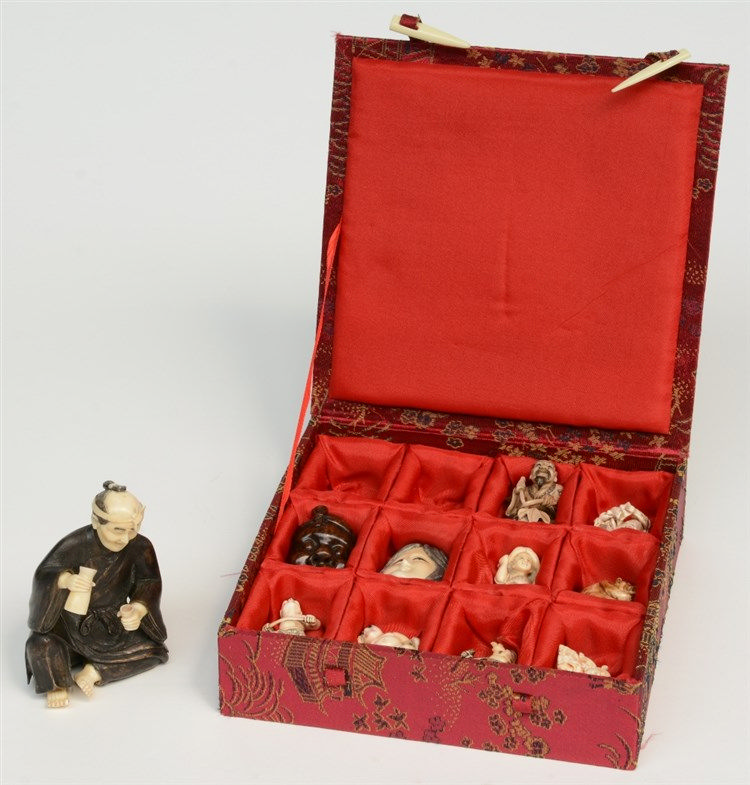 Ten scrimshaw decorated netsuke, ivory, mammoth ivory and wood, first half