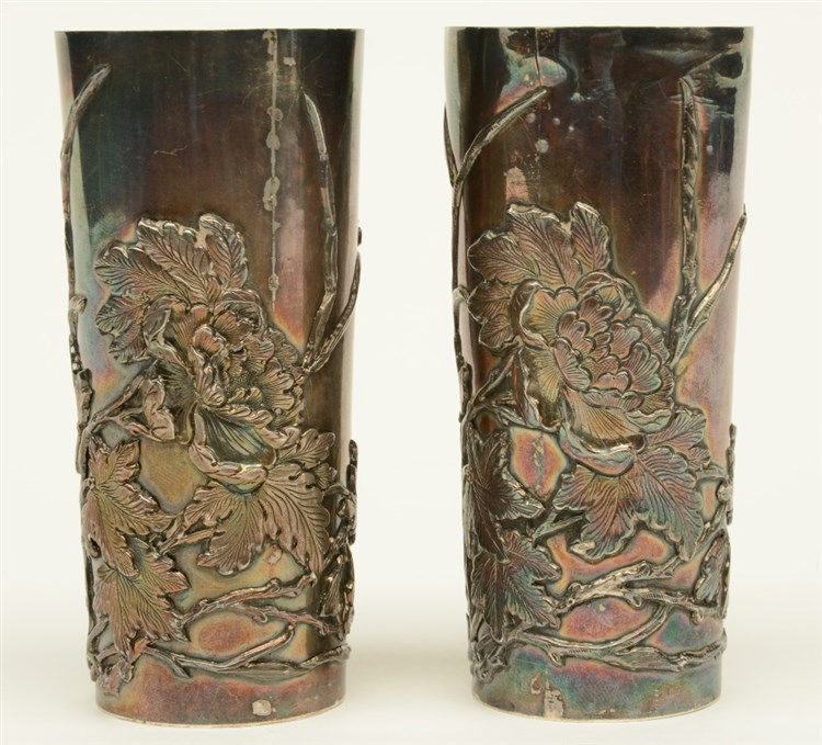 Two Chinese silver beakers, relief moulded with flower branches, marked, H