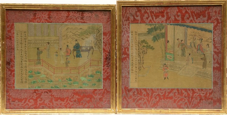 Two Chinese watercolours on textile, depicting animated scenes in a terrace