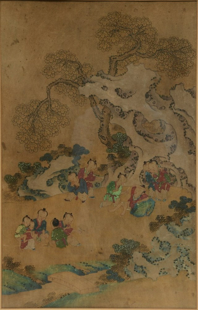 A Chinese watercolour on paper, depicting children at play in a garden, 19t