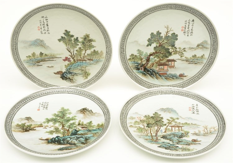 Four Chinese polychrome plates, decorated various river landscapes, marked