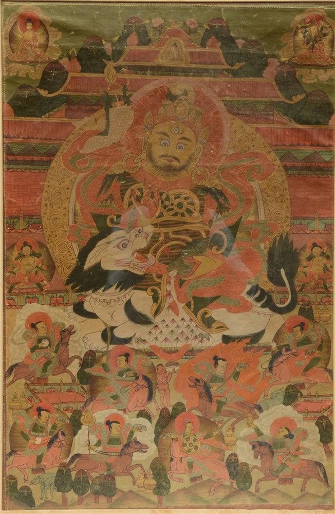 A 19thC Tibetan tanka, gouache on textile, 19thC, 48,5 x 73,5 cm