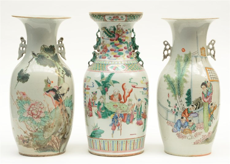 Three Chinese famille rose and polychrome decorated vases, H 43 - 45 cm (on
