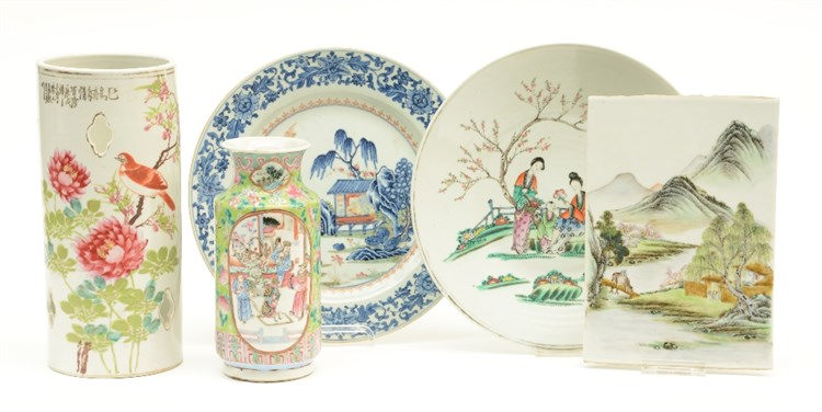 A Chinese hat stand, vase and two plates, famille rose and polychrome decor