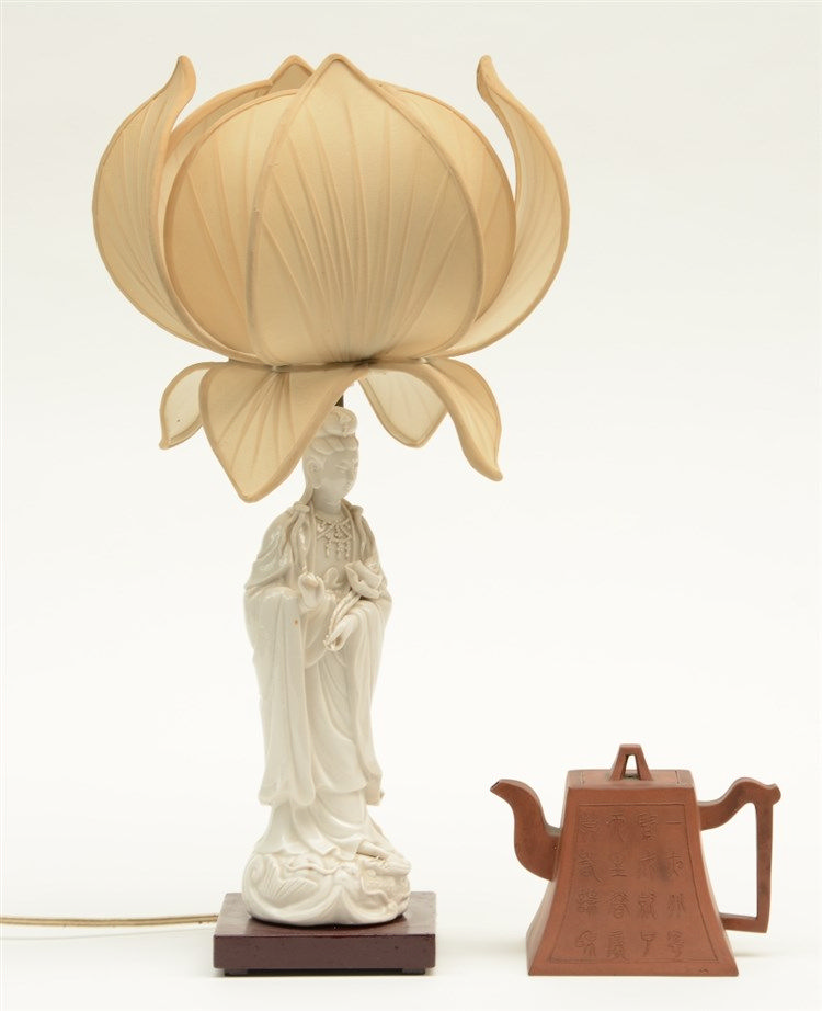 A Chinese Guanyin, Blanc de Chine, mounted into a lamp; added a Yixing teap