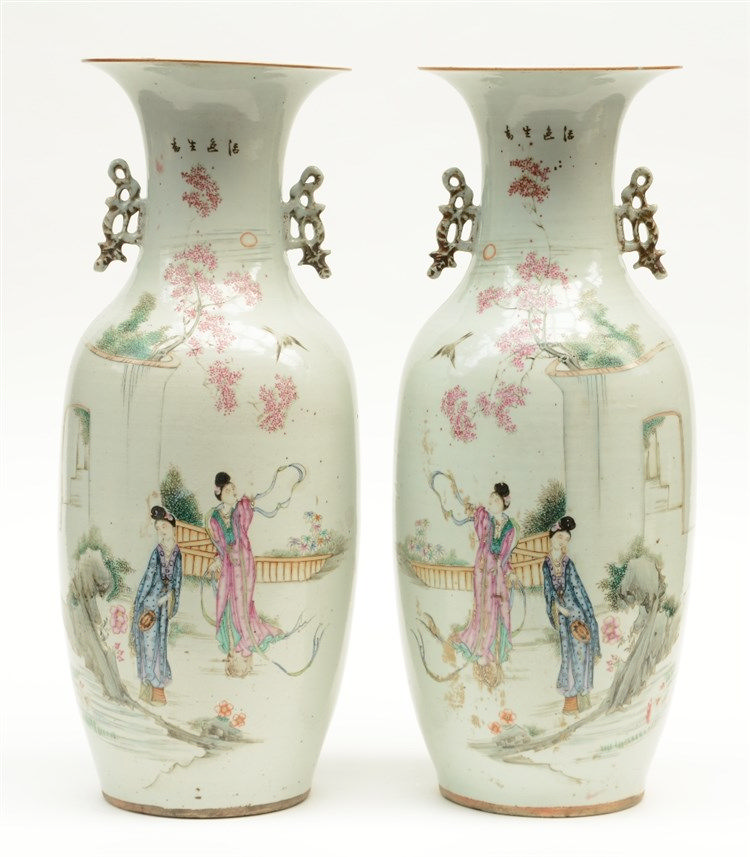 A pair of Chinese polychrome vases, decorated with two court ladies in a ga