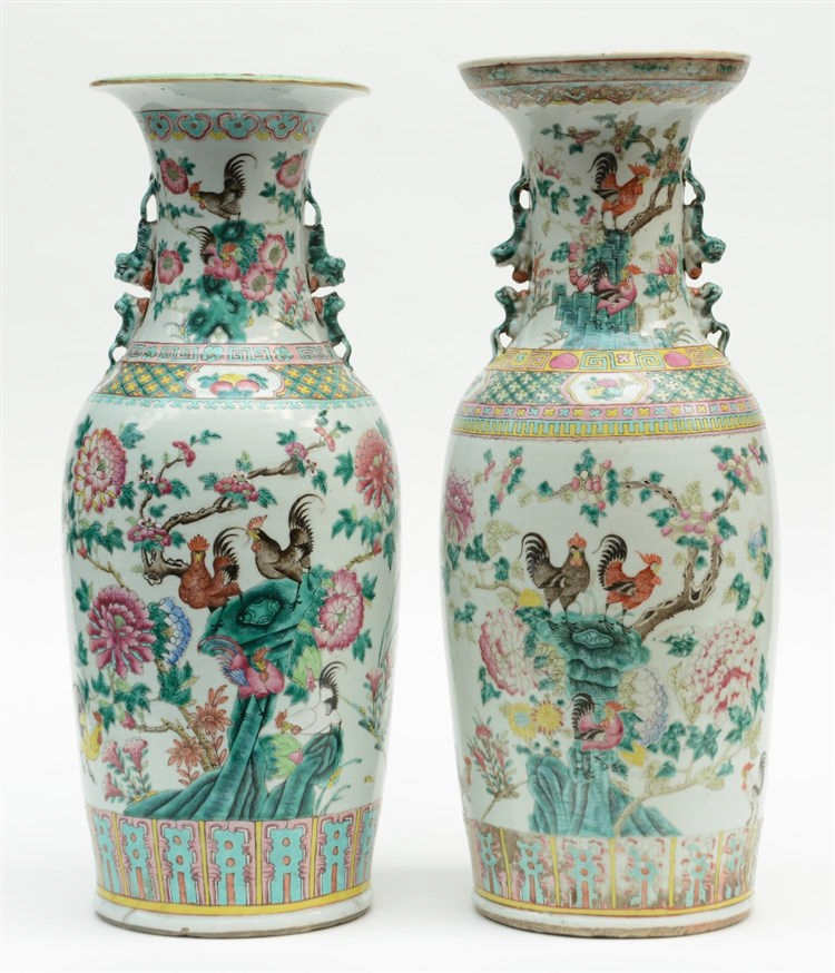 Two Chinese famille rose vases, overall decorated with cockerels on a rock