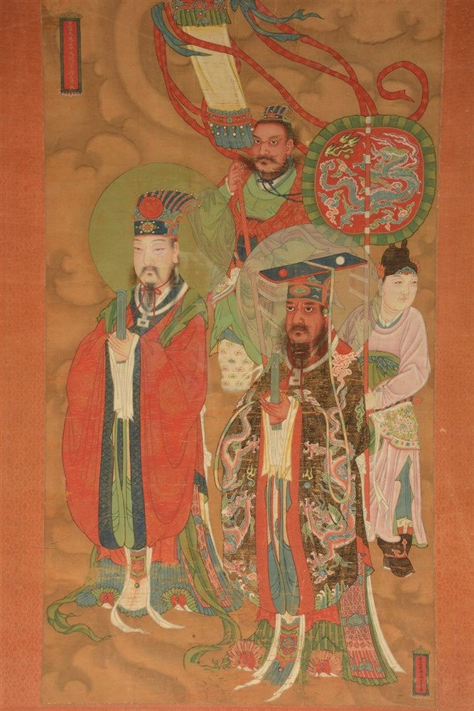 A Chinese watercolour painting on textile depicting a cortege of dignitarie