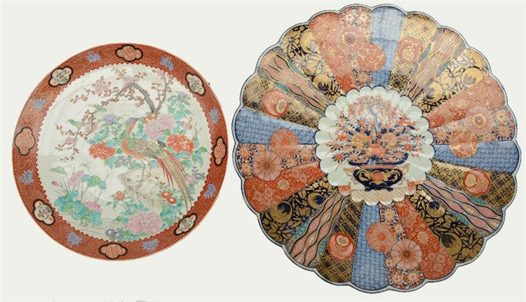 A large Japanese Imari dish, 19thC; added a ditto polychrome dish decorated
