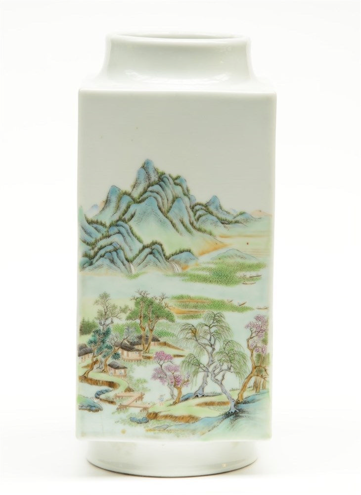 A Chinese quadrangular polychrome vase, decorated with horses and mountaino