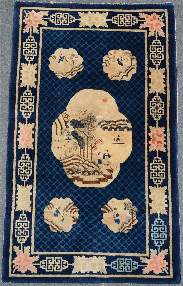 A Chinese Pao Tao wool rug, the roundels decorated with animated scenes,99