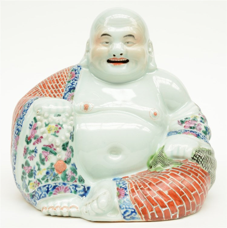 A Chinese laughing Buddai, polychrome decorated, marked, ca. 1900, H 25,5 c