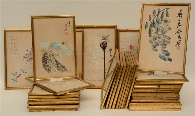 A lot of Chinese watercolor reproductions,18 x 28 - 22,5 x 32,5 cm