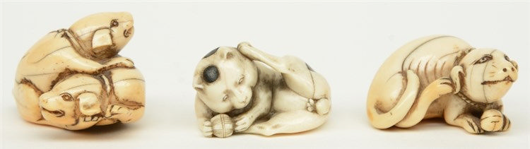 Three late Edo period Japanese ivory katabori-netsuke, in the form of playi