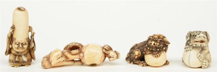 Four late Edo period Japanese ivory katabori-netsuke, three in the form of