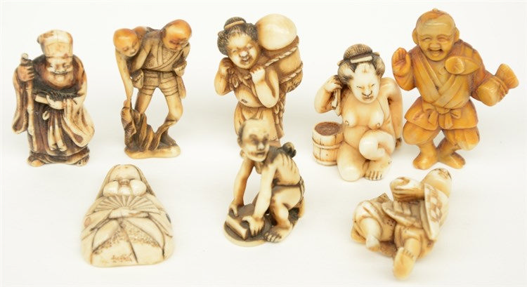 Eight Meiji period Japanese ivory katabori-netsuke/mini-okimono (some of th