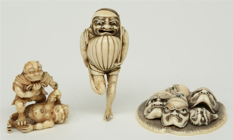 Three exceptional Edo period Japanese ivory katabori-netsuke, two in the fo