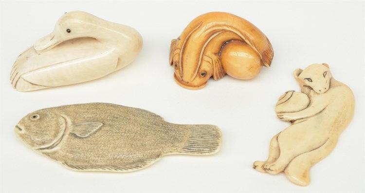 Four late Edo/early Meiji period Japanese ivory katabori-netsuke, in the fo