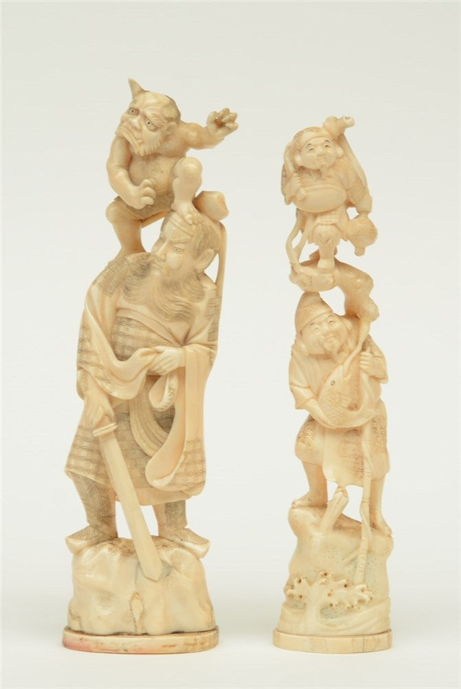 Two Japanese ivory late Meiji period okimono sculptures, one depicting a wa