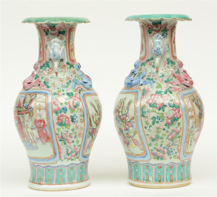 A pair of Chinese famille rose vases, decorated with a court scene, warrior
