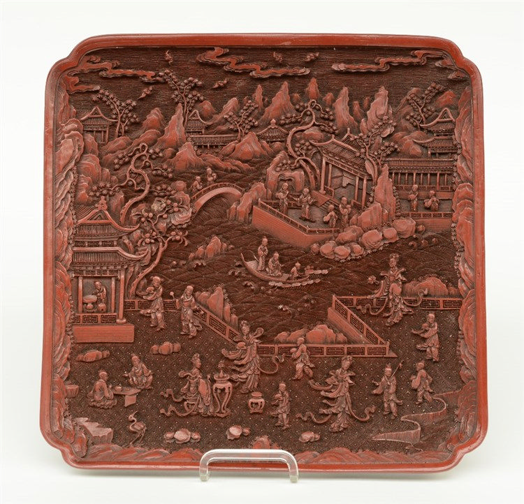 A Chinese quadrangular red lacquer dish, marked Qianlong, 32 x 32 cm