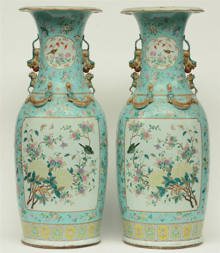 A pair of impressive Chinese turquoise-ground famille rose vases, decorated