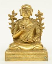 A Chinese gilt bronze Buddha, Qing dynasty, H 16 cm