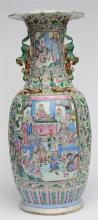 A fine Chinese famille rose vase decorated with court scenes, relief decora