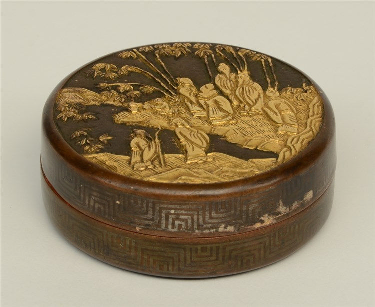 A Chinese bronze- and gilt bronze miniature box with cover, decorated with