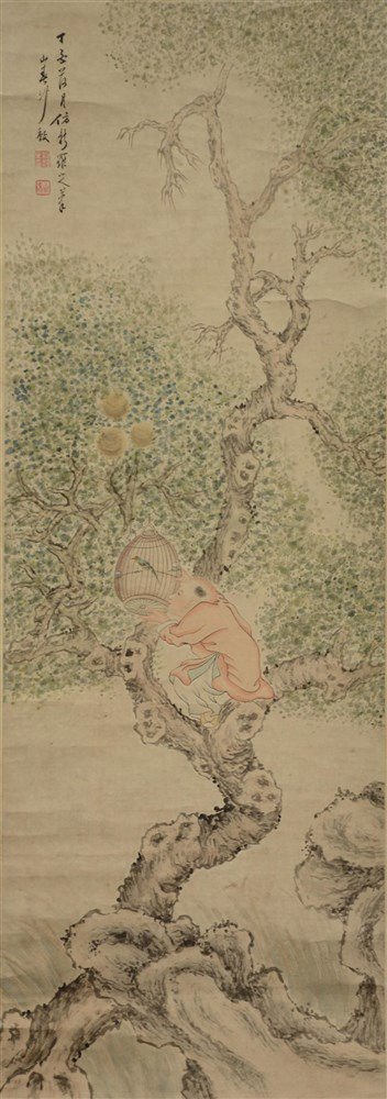 A Chinese scroll painting, watercolor on paper, depicting a young boy in a
