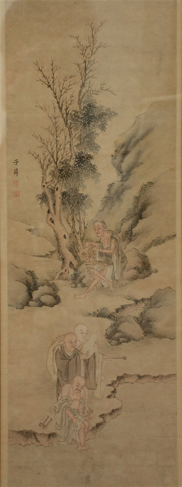 A Chinese watercolor on paper, painted with an animated scene, marked, 19th