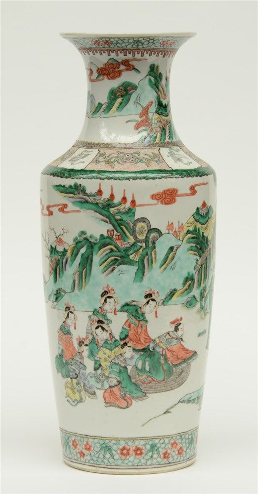 A fine Chinese famille verte vase, overall decorated with an animated scene