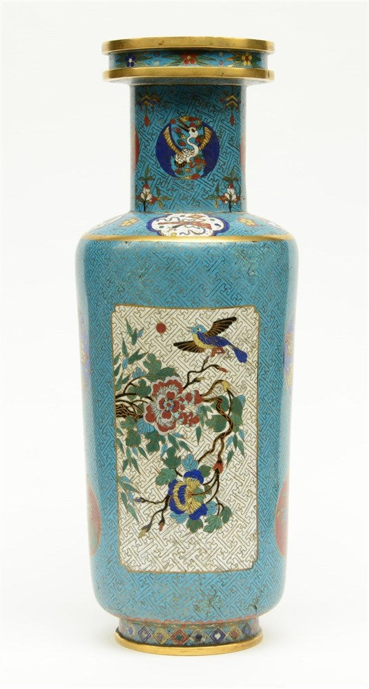 A rare Chinese cloisonné rouleau shaped vase, decorated with birds on flowe