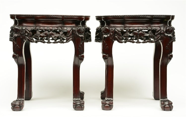 A pair of Chinese carved wooden stools with marble top,H 46 - W 41 - D 41