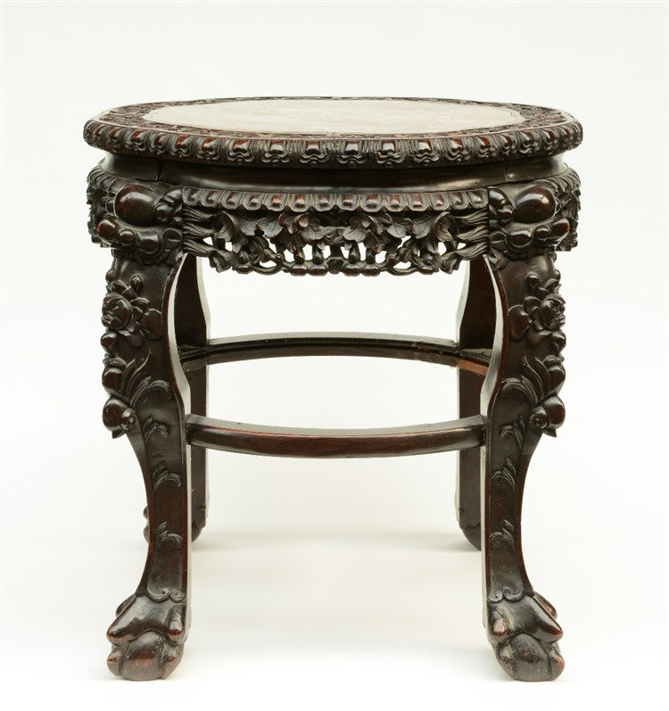 A Chinese carved wooden stool with a marble top, ca. 1900,H 58 - Diameter