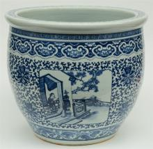 A fine and impressive Chinese blue and white decorated fish bowl, the round