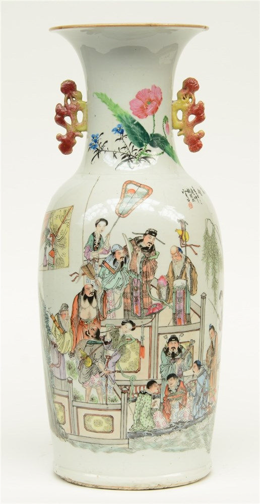 A fine Chinese polychrome decorated vase, one side with the Eight Immortals