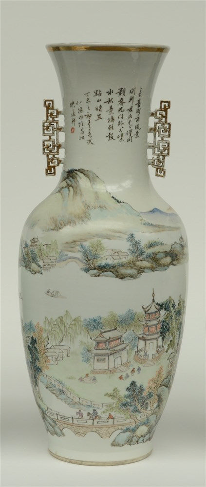 A Chinese polychrome vase, decorated with a river landscape, with calligrap