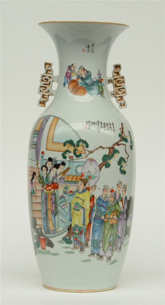 A fine Chinese polychrome decorated vase, one side with an animated scene,