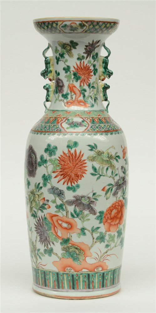 A Chinese polychrome vase, overall decorated with flower branches, 19thC, H