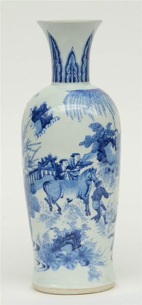 A Chinese blue and white vase, decorated with animated scenes, probably Tra