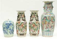 A Chinese famille rose vase, decorated with a court and battle scene; added