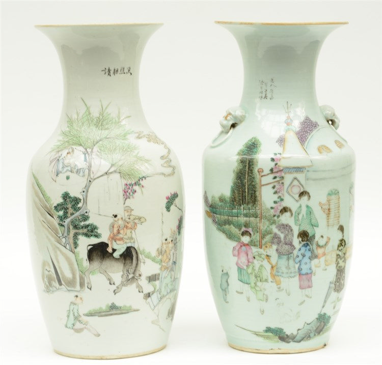 Two Chinese polychrome decorated vases, one with children paying in a garde