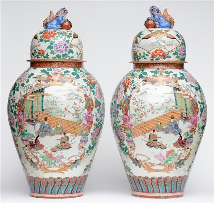 A large pair of exceptional Japanese polychrome vases, decorated with anima